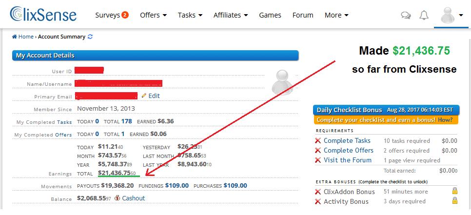 ClixSense Review: How I made $21,436 from ClixSense   Tips & Tricks