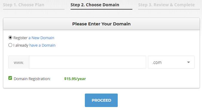 siteground hosting choose domain